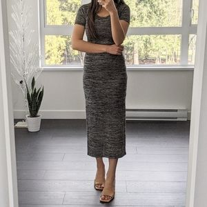 Forever 21 Heather Grey Midi Side Slit Dress